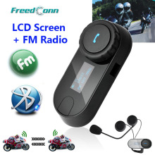 2016 Nueva Versión Actualizada! FreedConn T-COMSC Interphone Bluetooth Casco de La Motocicleta Intercom Headset Pantalla LCD + Radio FM