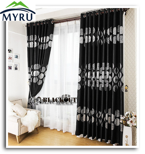 MYRU New Arrival Black Color With Silver Endless Cloth Curtains Full Shade  Blackout Curtain Living Room