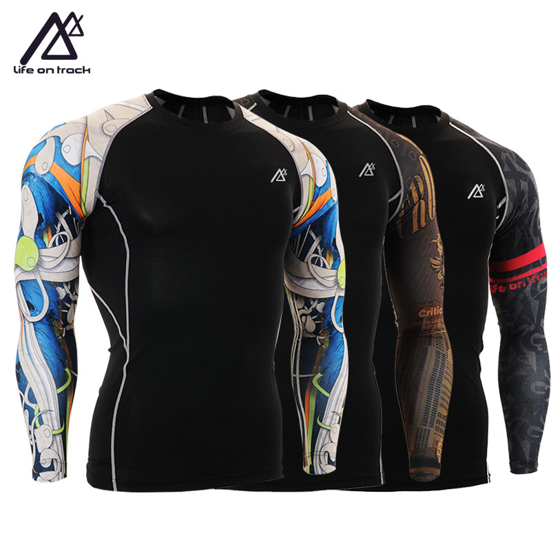 Life on Track Men`s Single Sleeve Printed Fitness Running Compression Shirts Quick-dry MMA Gym Training Workout Tops Tights CPD men s shirt skin compression tights gym running mma base layer hot sale training clothes men cycling jerseys
