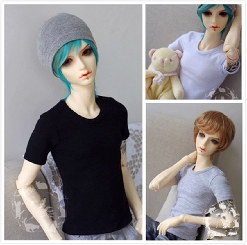 Basic Short Sleeve T-shirt for  BJD Doll 1/6 YOSD,1/4 MSD,1/3 SD10/SD13,SD17,Uncle,SSDF Doll Clothes CMB26 fashion black thread knitted cap hat 3 colors for bjd 1 6 yosd 1 4 msd 1 3 sd17 uncle doll clothes accessories