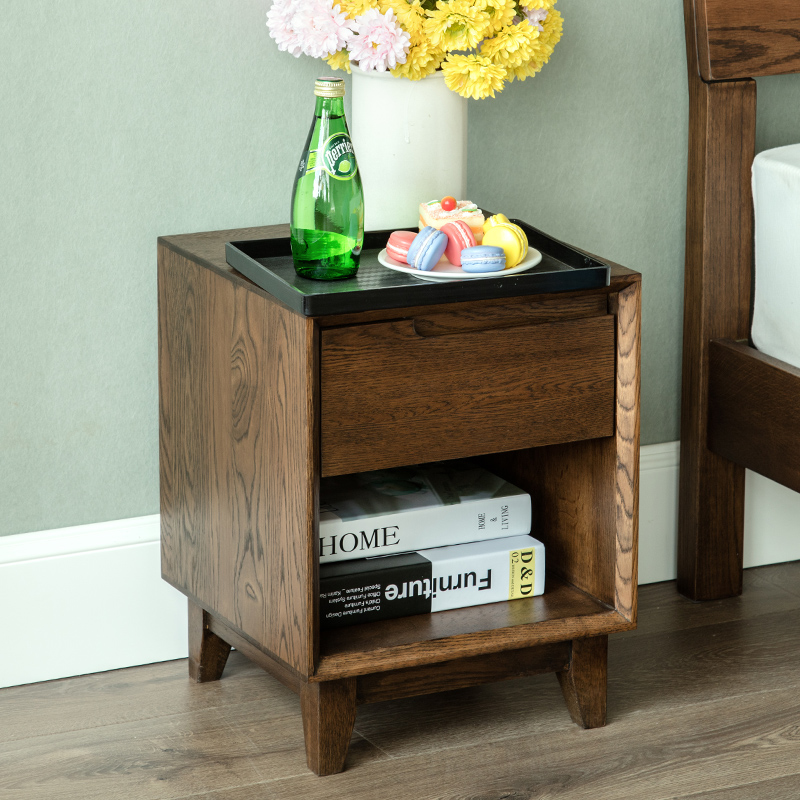 US $213.0 |Pure white oak wood nightstand Japanese Japanese nightstand  cabinet corner cabinet single pumping bedroom cabinet-in Nightstands from  ...
