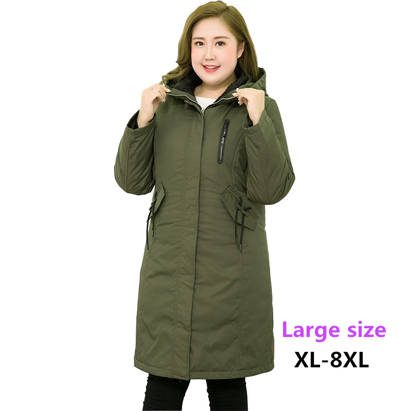 2019 Winter   Down   jacket Women Plus size XL-8XL Liner can be removed Parkas Thick Warm Hooded Tops Female White duck   down     Coats