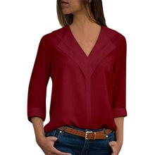 Office Ladies Plain Roll Sleeve lady Blouse Tops 2019 Women double V neck blouses solid long sleeve shirts Chiffon Solid Shirt