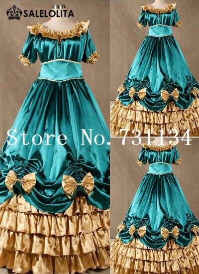 Victorienne Marie Antoinette Rococo Belle Mode Southern Femmes Robe  Personnalisé Vert Robes Satin De zv4nPHP 95bc584b061