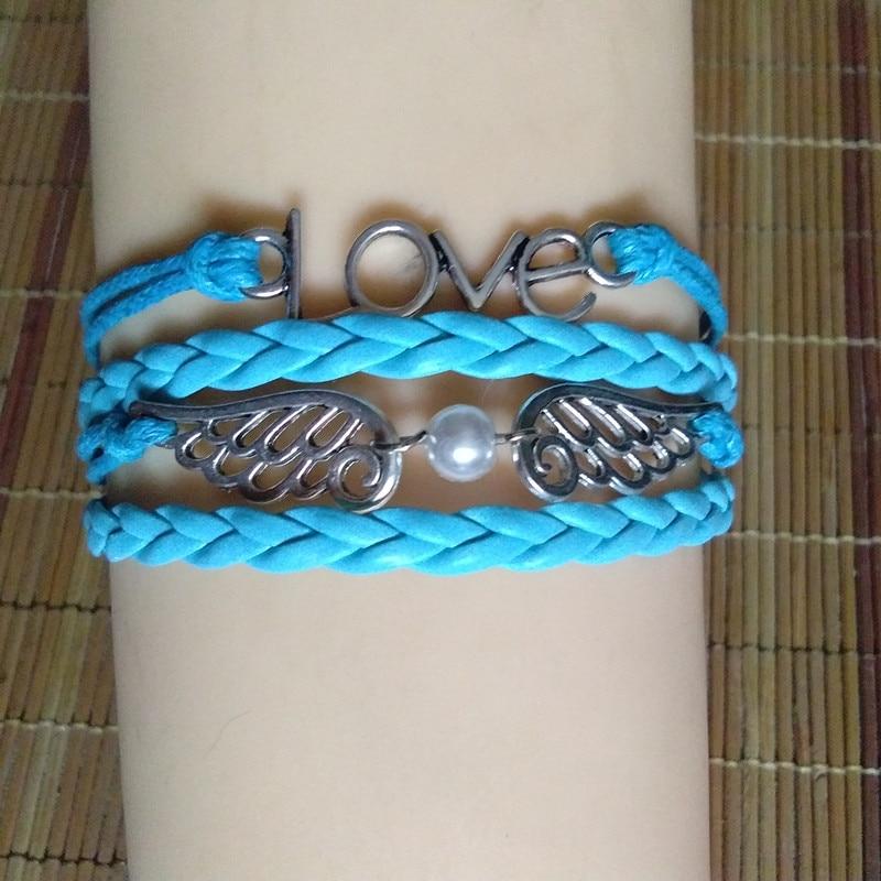 12pcs/lot Top Quality Punk Style Braided Leather Bracelet Wax Cord Silver LOVE Symbol Wing Bracelet Fashionable Women Jewelry