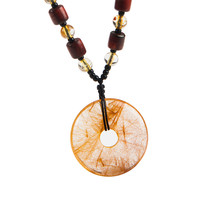 Women Men Necklace Charm Pendant Jewelry Genuine Natural Titanium Gold Rutilated Quartz Crystal Round Pendant Bead