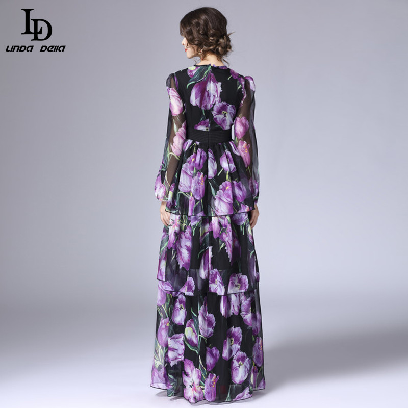LD LINDA DELLA printemps nouvelle mode piste Maxi robe femmes à manches longues Vintage à niveaux tulipe Floral imprimé longue robe - 3