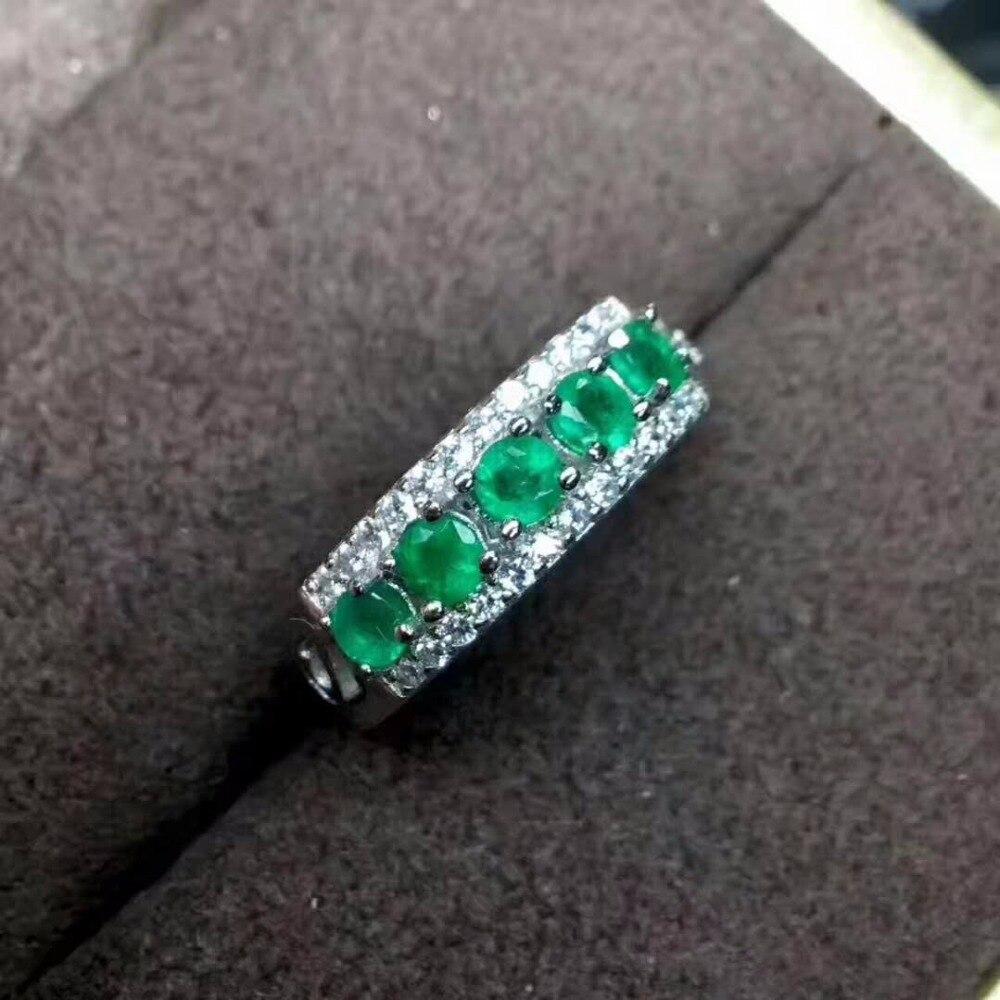ירוק טבעי אמרלד חן טבעת 925 תכשיטים כסף סטרלינג לנשים, זמביה אמיתי אמרלד טבעת תיבה עם