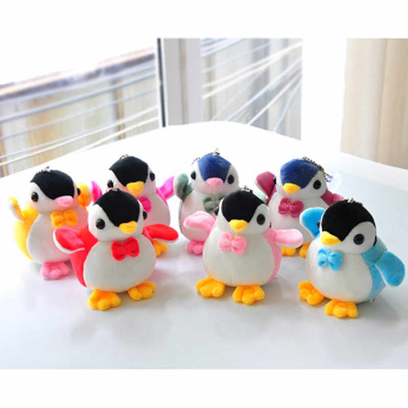 10 CENTÍMETROS Linda Boneca Pinguim de Pelúcia Fofo Faux Fur Pompom Chaveiro Carro Chave Anéis Da Cadeia de Sacos de Mulheres Encantos Jóias Para maitresse Presente