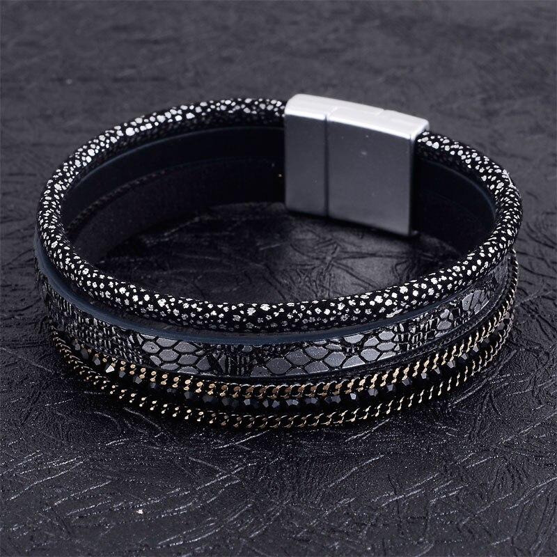 Cristal cuir suédé chaîne magnétique bracelets B1582