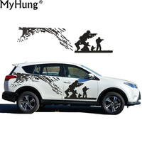 New Car styling For Toyota RAV4 SUV Cool CS Army Battle Car Whole Body Sticker Covers Garland PVC Waterproof Car Sticker 2pcs