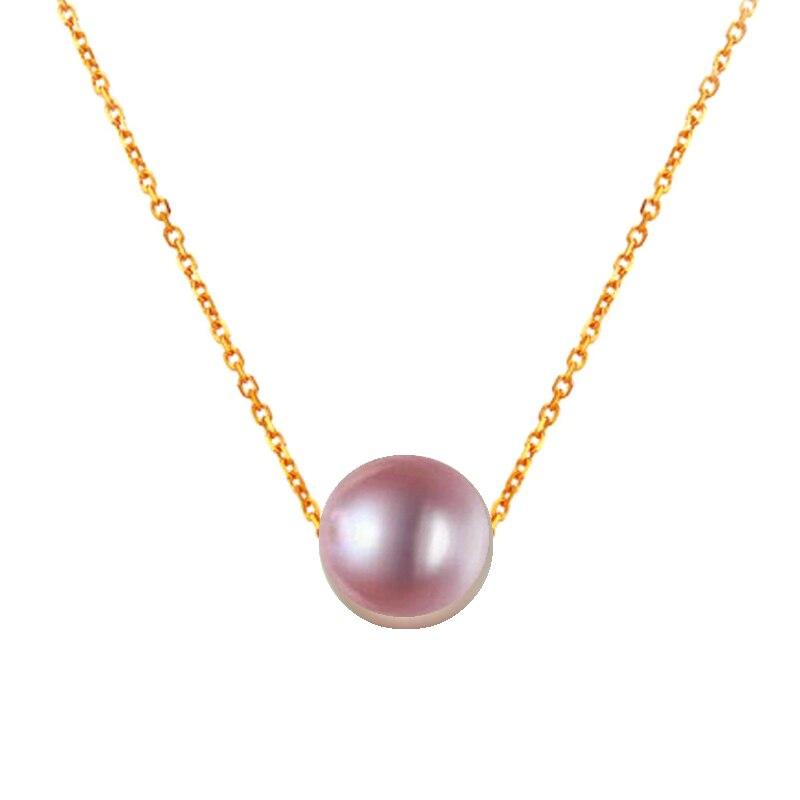 7.5-8mm 8-9mm 9-10mm 10-10.5mm violet rond perle fil AU750 18 k chaînes collier pour jeunes femmes