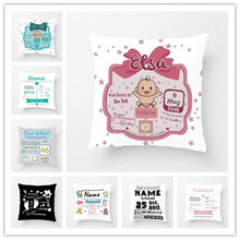 Personalized Kid Birth Stats Nursery Modern Pattern Throw Pillow Cover Soft Polyester Home Decorative Cushion Cover Sofa