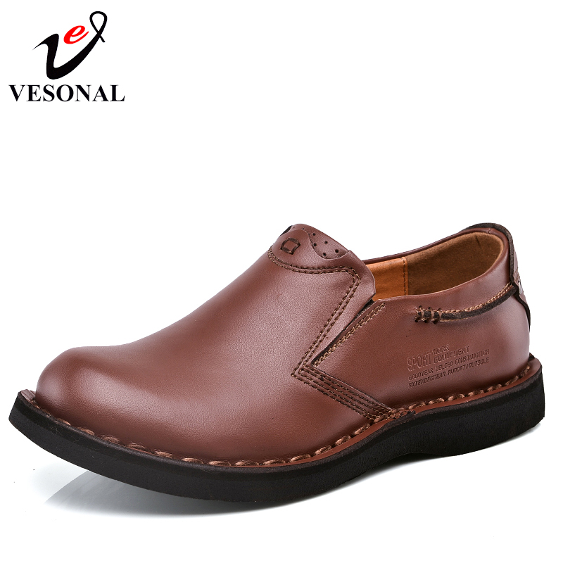 VESONAL Handmade Genuine Leather Male Moccasins Loafers Shoes For Men Boat Quality Casual Spring Driving Flats Footwear 2018 high quality genuine leather men shoes lace up casual shoes handmade driving shoes flats loafers for men oxfords shoes