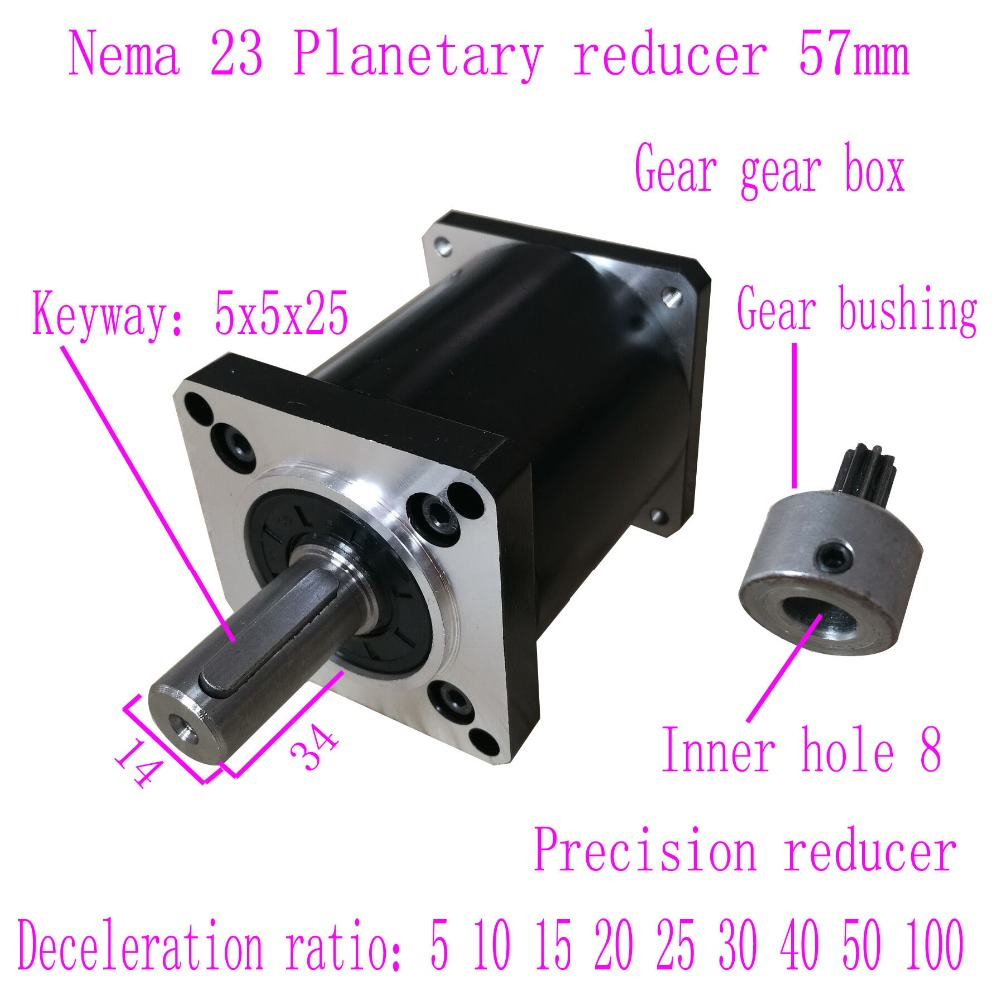 NEMA23 шаговый мотор шага планетарный редуктор 57 щетки безщеточный редуктор