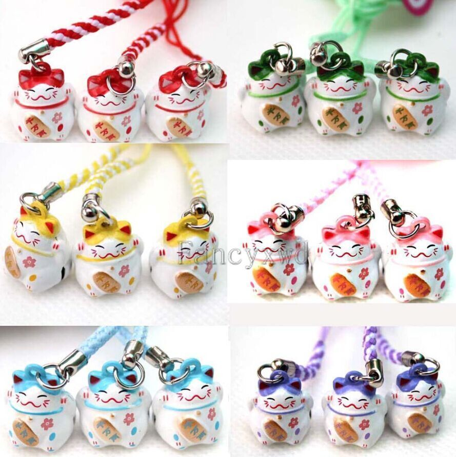 Wholesale 100 Pcs New Bell Cell Phone key Charm cell Phone Strap Lucky Cat