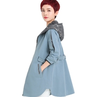 2018 New arrival long hooded   trench   coat women Adjustable Waist fashion female overcoat plus size 4xl high quality outerwear top