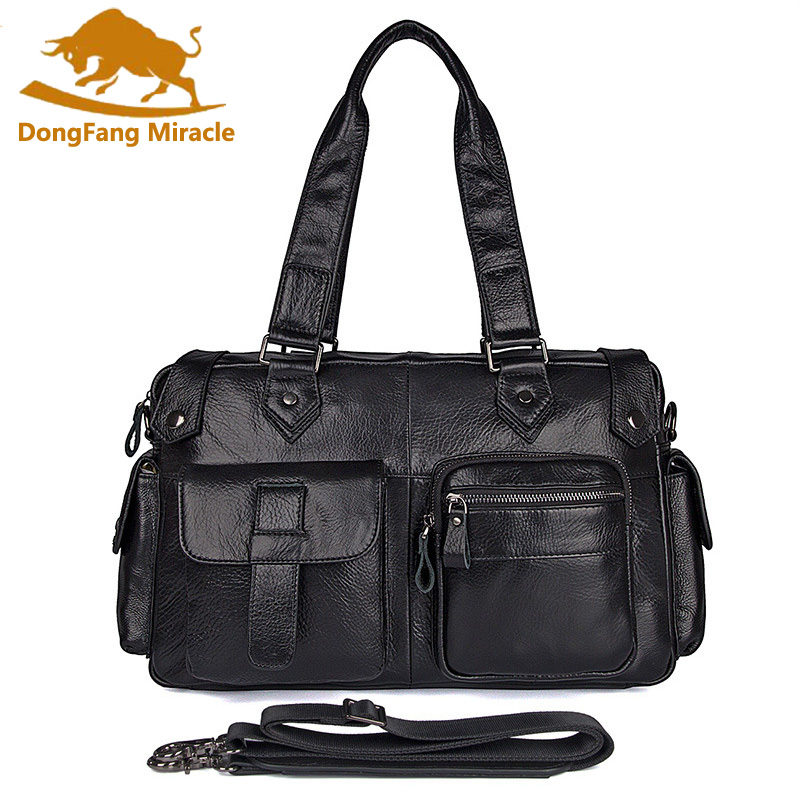 Genuine Leather Man Vintage Briefcase High Quality Business Shoulder Bag Casual Travel Handbag Luxury Brand Laptop Bag 100% genuine leather backpack large capacity cow leather travel bags high quality business bag for man women vintage laptop bag