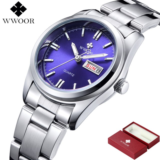 WWOOR Women's Luxury Date Silver Stainless Steel Ladies Quartz Watches 2