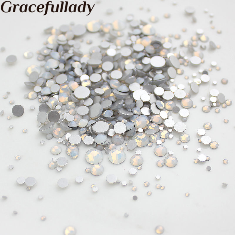 Mix Sizes White Opal 1000pcs Nail Rhinestones, Flat Back Non Hotfix Glitter Nail Stones,DIY 3d Nail Phones Decorations Supplies quan ss3 ss30 flat back best crystal white opal 3d nail art decorations non hot fix glue on rhinestones for nails diy
