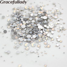 gracefullady Mix Sizes White Opal 1000pcs Rhinestones Flat Back Non Hotfix  Glitter d4f4a059a7e1