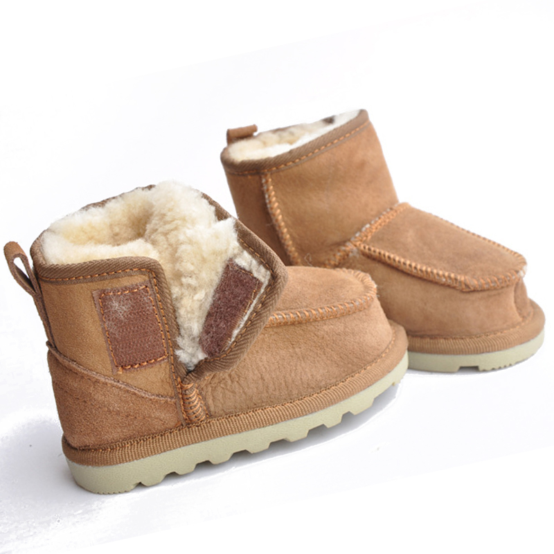 купить Baby winter Snow Boots for boys and girls Kids Snow Boots Sheepskin Real Fur Shoes Children Geanuine Leather Australia Shoes 40 онлайн