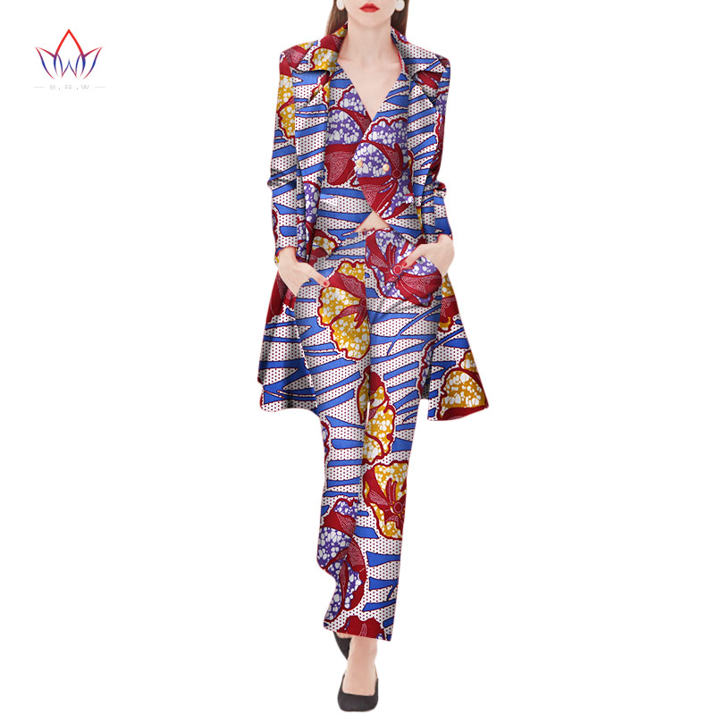 2018 Autumn three Piece Casual Set Wax Top Pant and Vest Suits African 6xl africa Cotton regular Clothing woman Plus Size WY2040