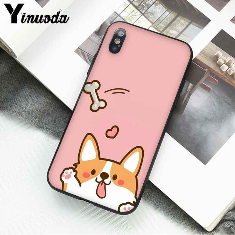 Yinuoda น่ารัก Corgi สุนัขการ์ตูนรูปแบบ TPU กรณีโทรศัพท์มือถือนุ่มสำหรับ iPhone ของ Apple iPhone 8 7 6 6S PLUS X XS MAX 5 5S SE XR โทรศัพท์มือถือ