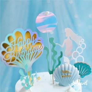 Image 4 - Taç Mermaid dekor balık kuyruğu kabuk lazer gümüş kek Topper mektubu dekorasyon için çocuk doğum günü partisi düğün malzemeleri sevimli hediyeler