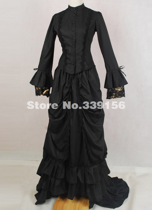 Women's Clothing Active Halloween Black Cotton 18th Century Gothic Victorian Bustle Dress Interview With The Vampire Costume Labyrinth Gown Dress