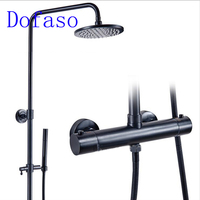Dofaso oil rubbed Luxury 8 Black Rainfall Shower Mixers Thermostatic Control Shower Faucet thermostatic mixer shower tap