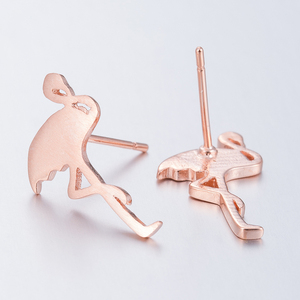 Yiustar New Arrival Three Color Cute Animal Flamingo Brass Stud Earrings For Women Sky Bird Flamingo Brass Earrings Party Gifts