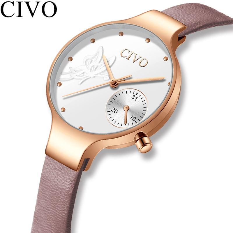 CIVO 2019 New Fashion Ladies Watch Quartz Genuine Leather Watches Butterfly Lady Bracelet Dress Watch Women Wristwatch Clock(China)