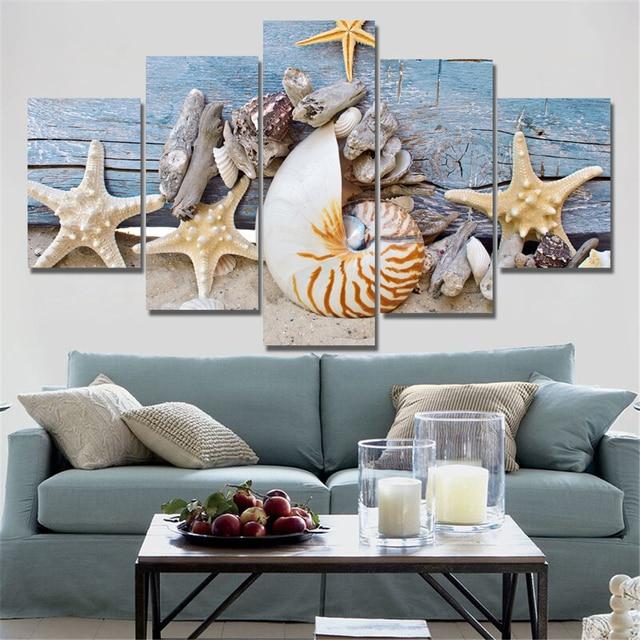 Moderno blu spiaggia paesaggi marini dipinti wall art home decor shell quadri su tela per - Decor art quadri bari ...