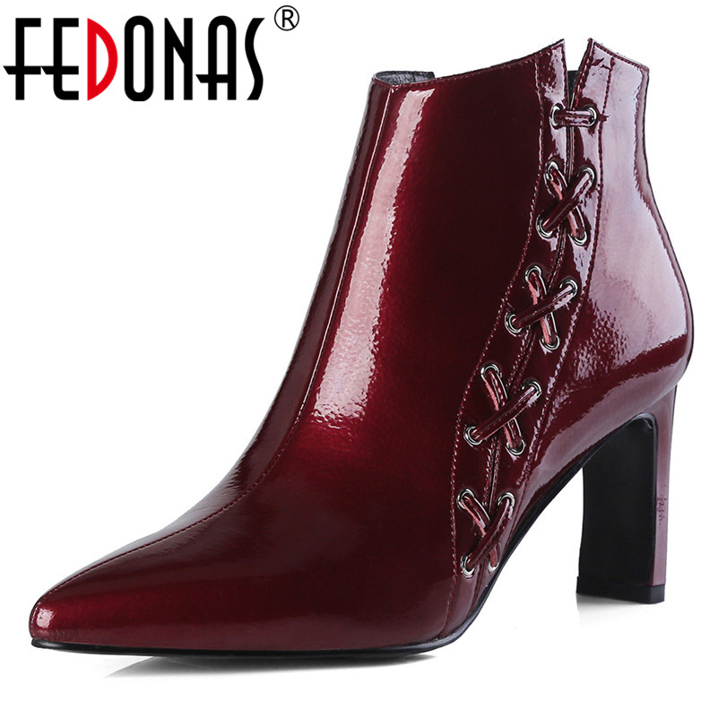 FEDONAS New Sexy Women High Heels Ankle Boots Zipper Cow Leather Pointed Toe Party Shoes Woman Ladies Fashion Dress Pumps spring autumn woman shoes cow suede shoes high heels sexy party pumps fashion women s pointed toe thin heel ankle boots 34 41