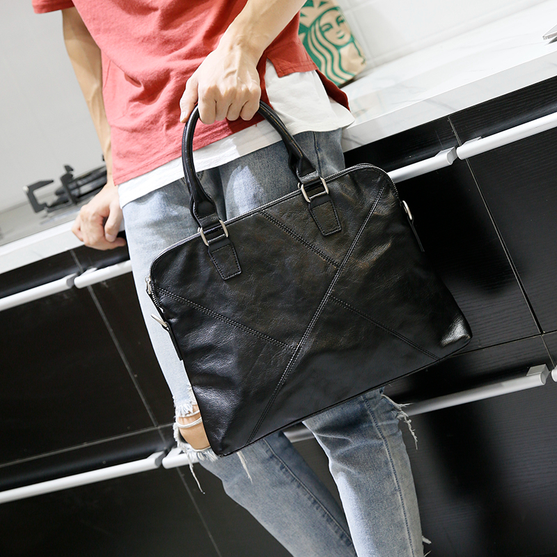 Leather Briefcase Mens Laptop Bag Leather Messenger Laptop Bag Leather Briefcases for Men Black Computer Bag for Macbook Pro 13 notebook bag laptop messenger 11 12 13 14 15 for macbook air 13 case lenovo samsung dell asus waterproof travel briefcase