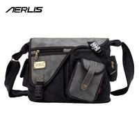 Canvas PU Leather Laptop Messenger Bag Versatile Handbag Crossbody Shoulder Leisure Change Packet Sport School Bags