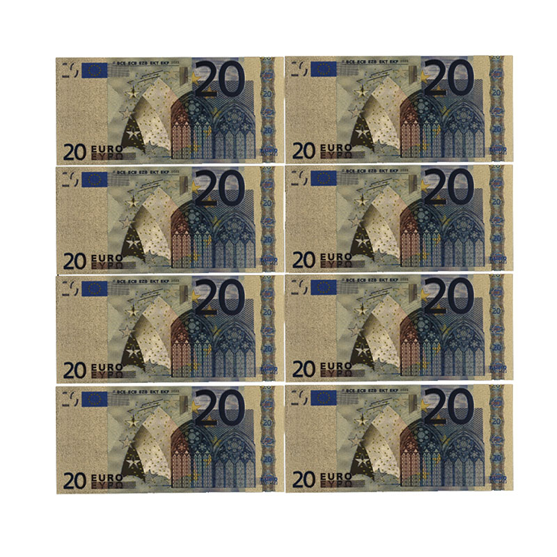 Color Euro Banknotes 10pcs/lot 20 EUR Gold Foil Banknote For Collection And Gifts EU Money Exquisite Craft