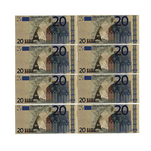 Color Euro Banknotes 10pcs/lot 20 EUR Gold Foil Banknote for Collection and Gifts EU Money Exquisite Craft(China)
