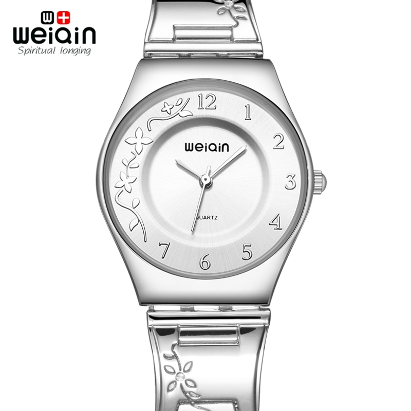 WEIQIN Brand Silver Women Watches Luxury High Quality Water Resistant Montre Femme Stainless Steel 2016 Dress Woman Wrist Watch mce luxury fashion gold watch women high quality skeleton mechanical watch full stainless steel water resistant wrist watches