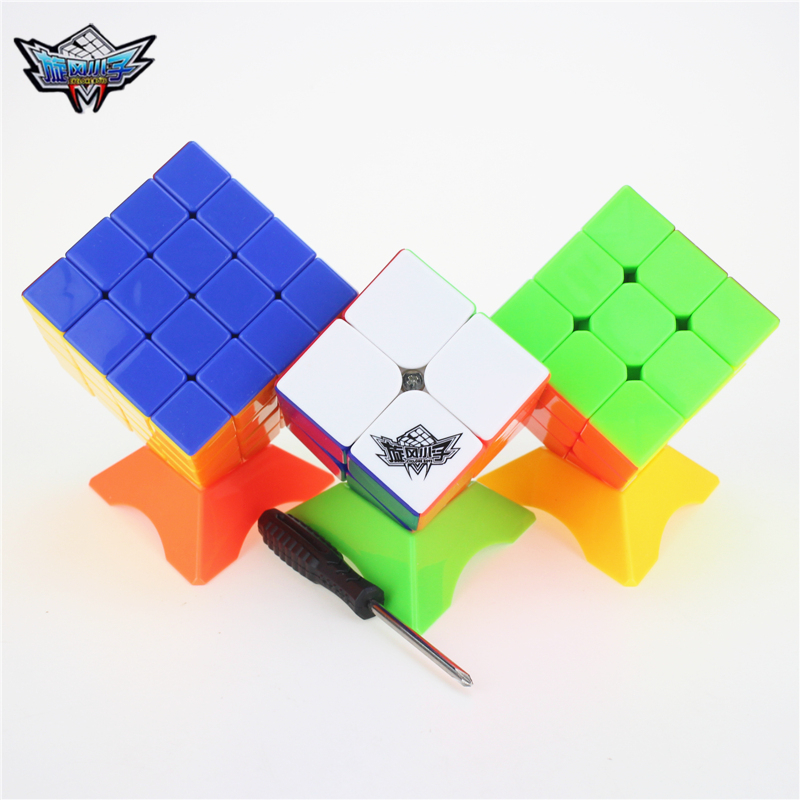 Cyclone Boys 2x2 3x3 4x4 1Set/3pcs Magic Cube Puzzle Cube Speed Cubo Square Puzzle No Sticker Gift Educational Toys For Children