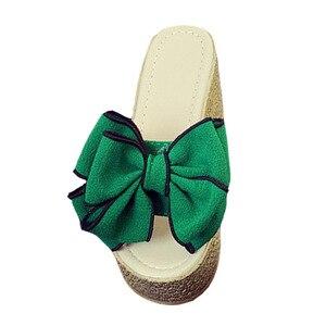 Image 4 - VTOTA Women Slippers Fashion Pee Toe Summer Shoes Butterfly knot High Heels Women Slides Platform Wedges Ladies Women Shoes F66