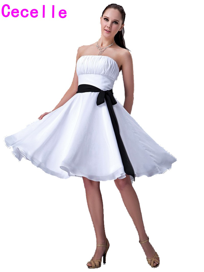 Short White And Black Bridesmaids Dresses Strapless Sashes Two Toned ...