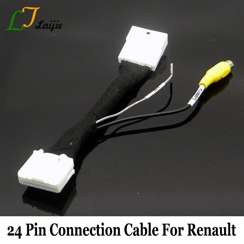 Laijie 24Pin Reversing font b Camera b font Adapter Cable For Renault Backup font b Camera