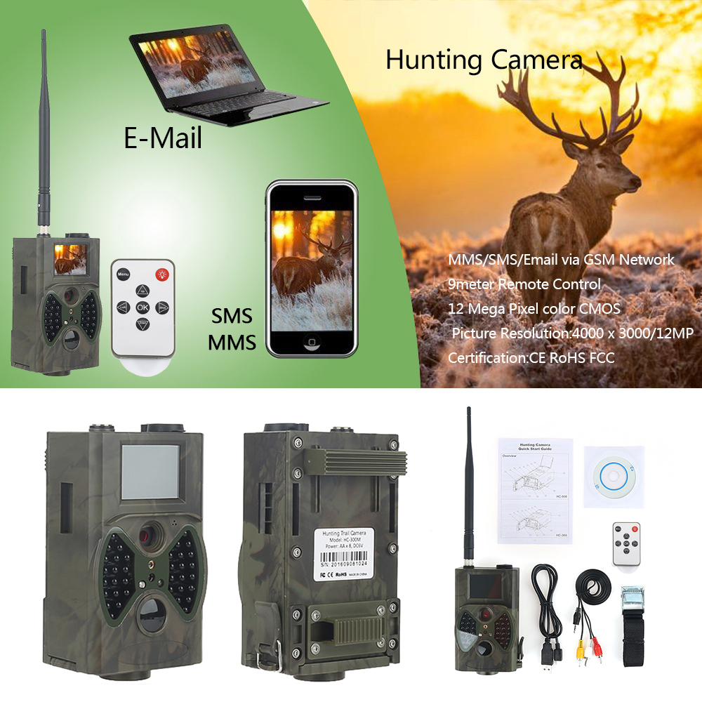 HC300M Hunting Trail Camera Full HD 12MP 1080P Video Night Vision Scouting Camera Infrared MMS GPRS 12mp trail camera gsm mms gprs sms scouting infrared wildlife hunting camera hd digital infrared hunting camera