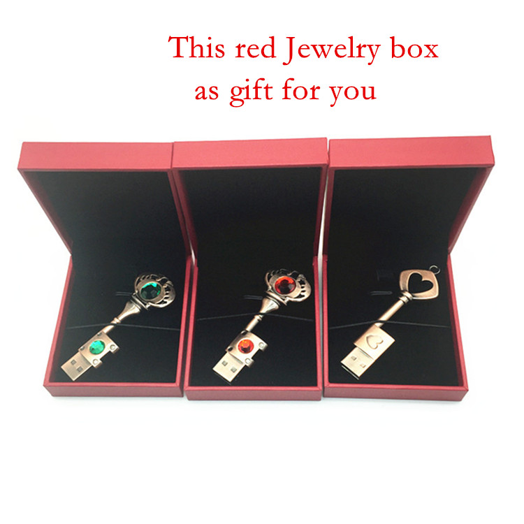 Heart Key 4G 8G 16G 32G USB PenDrive Red Jewelry box Memory Stick Waterproof Metal Pen