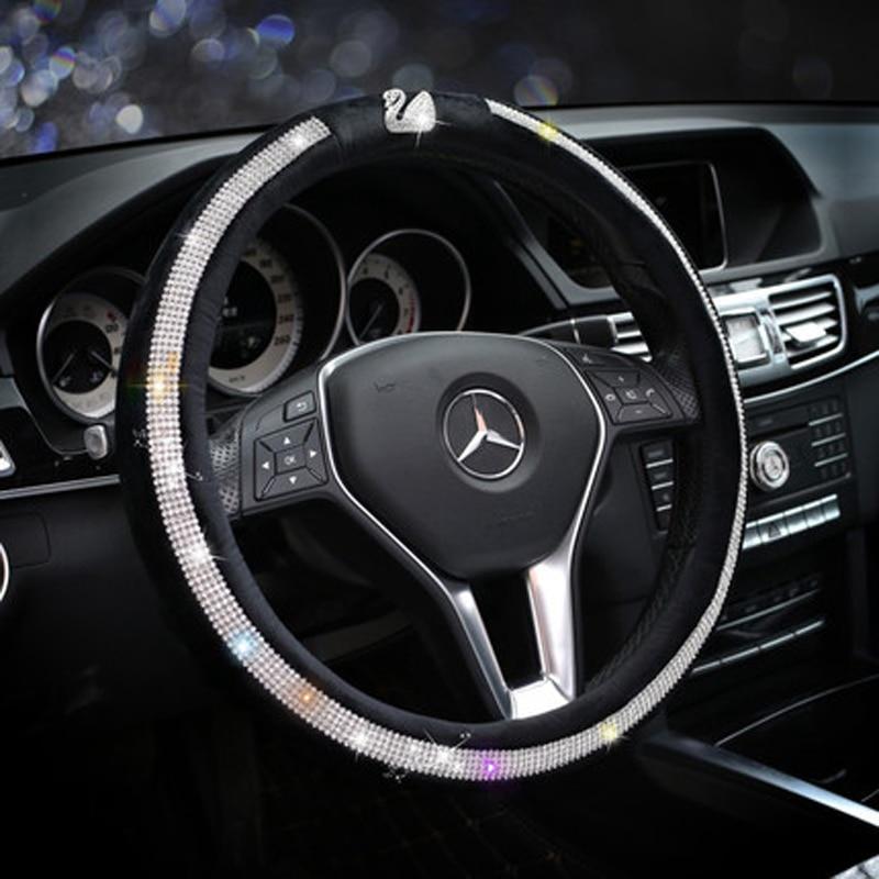 Swan Winter Plush Steering Wheel Cover Crystal Rhinestone Fur Auto Steering Covers Diamond Car Wheel Case