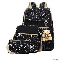Frauen Rucksack Für TeenageR Mädchen Schultaschen Blumendruck Rucksack Set 3 stücke tasche rucksack sets