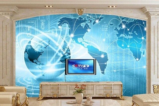 Benutzerdefinierte 3D Wandbild, Globus Grafik Computer moderne Tapeten.  Wohnzimmer Sofa TV Wand Schlafzimmer Tapete für Wände 3 d