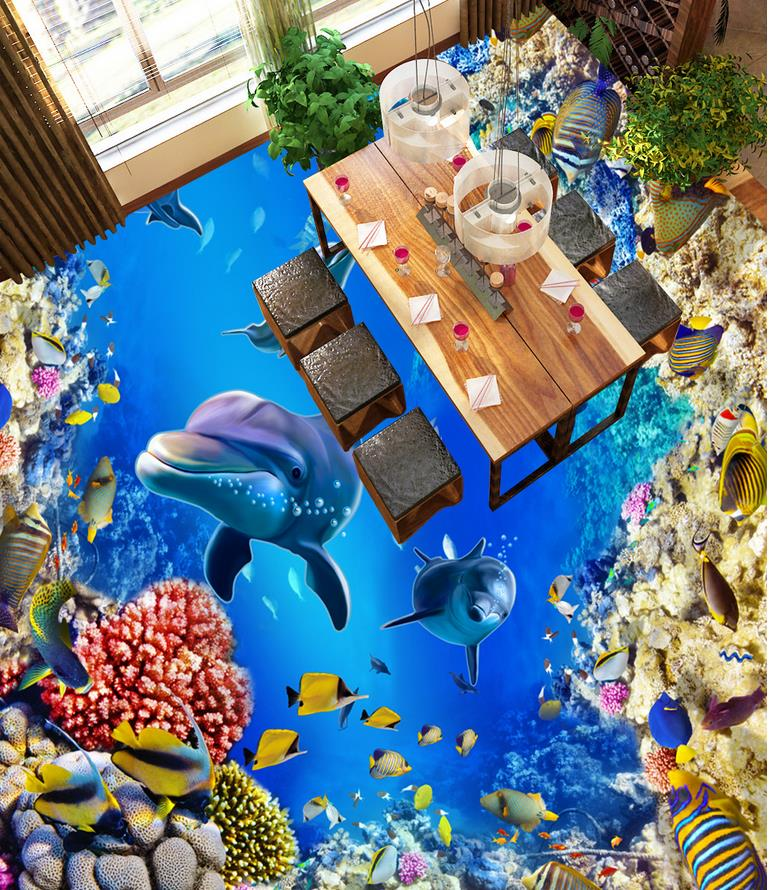 3d floor painting wallpaper Dolphin Coral Tropical Fish Toilet Bathroom Bedroom 3D Floor 3d wallpaper pvc free shipping aesthetic ocean shark dolphin toilet bedroom 3d floor waterproof living room bathroom kitchen flooring mural